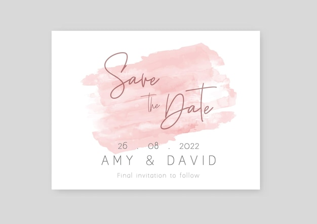 Save the date invitation with a hand painted watercolour design