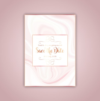Save the date invitation with pink marble texture