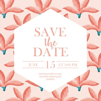 Save the date label with over flowers