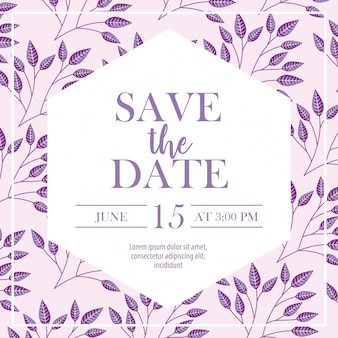 Save the date label with foliage