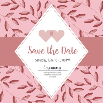 Save the date label with heart and foliage