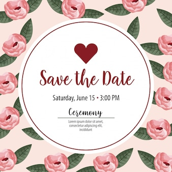 Save the date label with heart over leaves and flowers