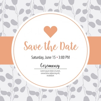 Save the date label with heart over leaves