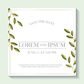 Save the date label with leaves foliage