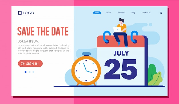 Save the date landing page website illustration template
