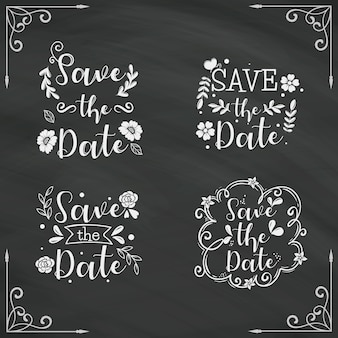 Save the date lettering collection on blackboard