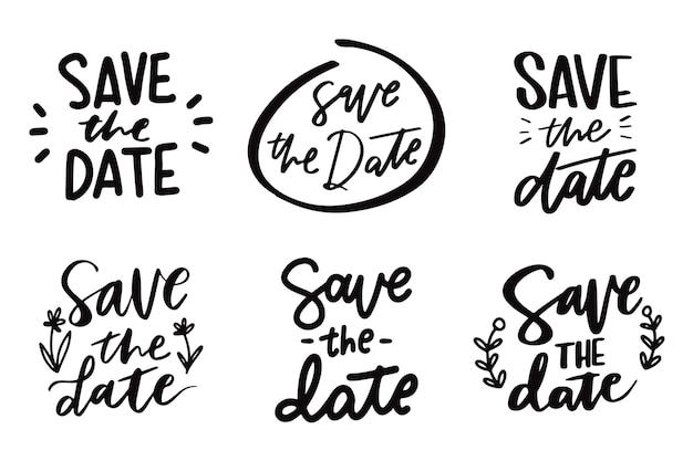 Save the date lettering collection