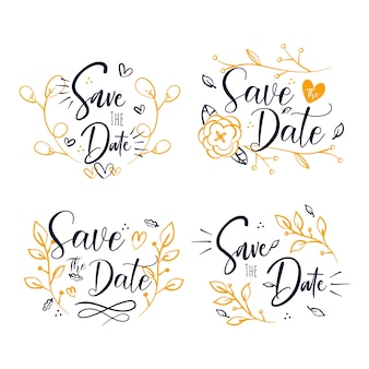 Save the date lettering flowers and hearts