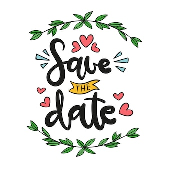 Save the date lettering illustration
