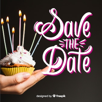 Save the date lettering on photo background