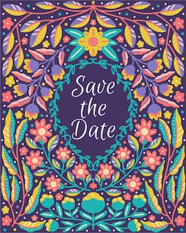 Save the date lettering quote framed in colorful floral dan blooming flower nature