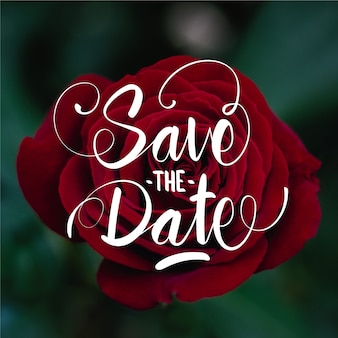 Save the date lettering on rose photo