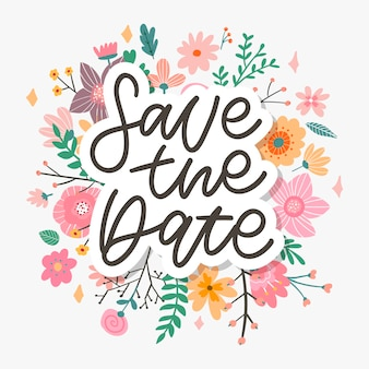 Save the date  lettering, wedding card