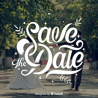 Save the date lettering on wedding image