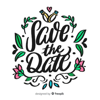 Save the date lettering on white background