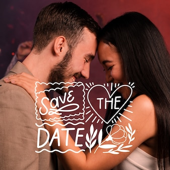 Save the date lettering with couple