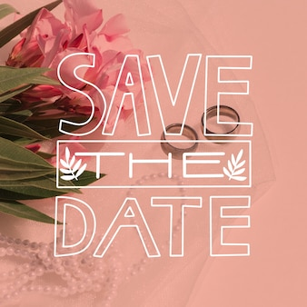 Save the date lettering with image