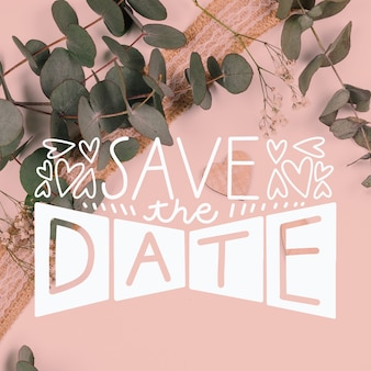 Save the date lettering with leaves