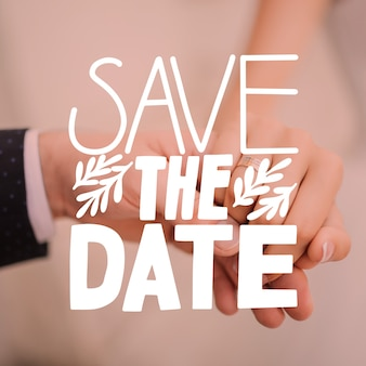 Save the date lettering with photo theme