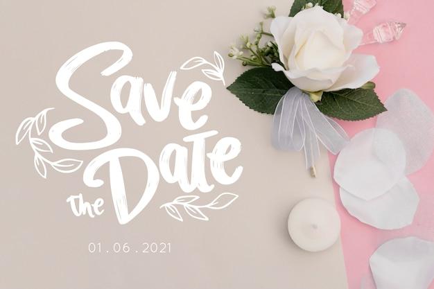 Salva la data scritta con foto di rosa bianca