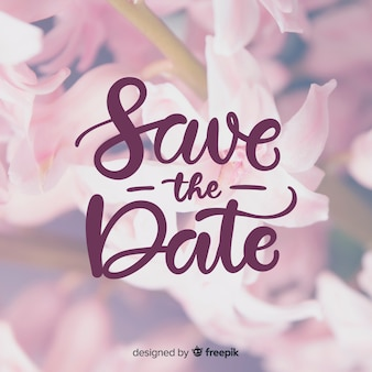 Save the date lettering with photo