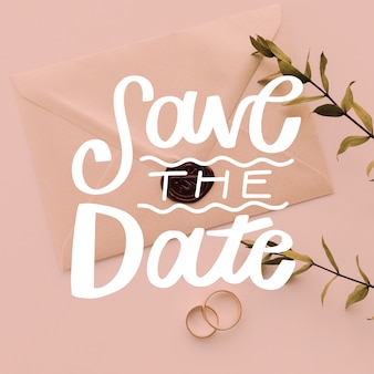 Save the date lettering with picture