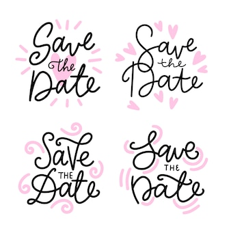 Save the date lettering with pink hearts