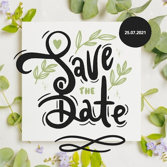 Save the date lettering with plant photo