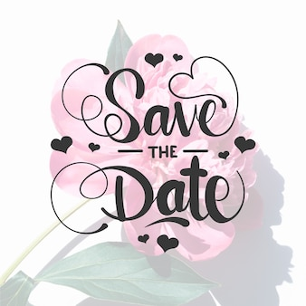 Save the date lettering with rose photo