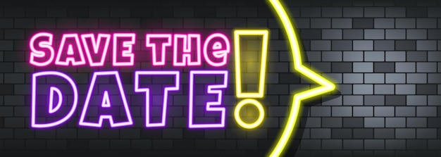Save the date neon text on the stone background. save the date. for business, marketing and advertising. vector on isolated background. eps 10.