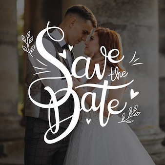 Save the date the newlyweds lettering