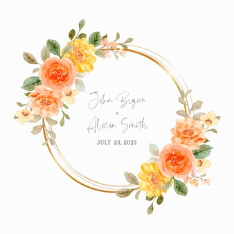 Save the date. orange rose wreath with watercolor
