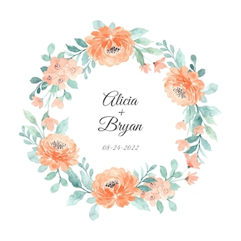 Save the date. peach floral watercolor wreath