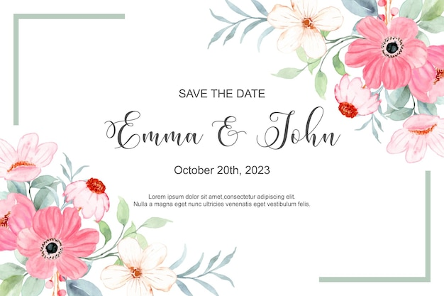 Save the date pink floral frame with watercolor