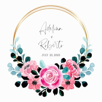 Save the date. pink floral watercolor wreath with golden frame