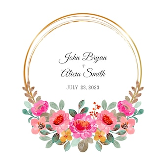 Save the date. pink floral wreath with watercolor and golden circle