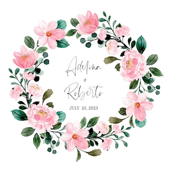 Save the date. pink floral wreath with watercolor