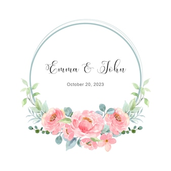 Save the date pink floral wreath with watercolor