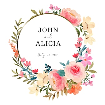 Save the date pink peach floral wreath with watercolor