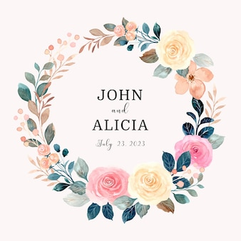Save the date pink yellow rose flower wreath with watercolor