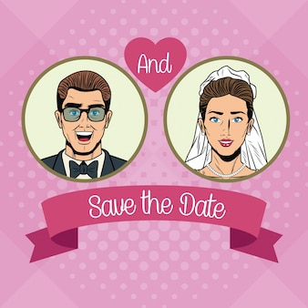 Save the date pop art cartoon