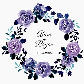 Save the date purple floral wreath with watercolor