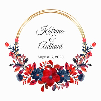 Save the date. red floral watercolor wreath with golden frame