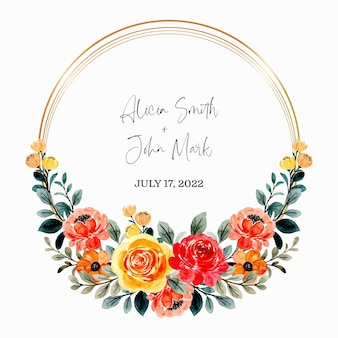 Save the date. red orange floral watercolor wreath with golden frame