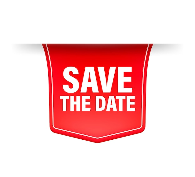 Save the date red ribbon in 3d style