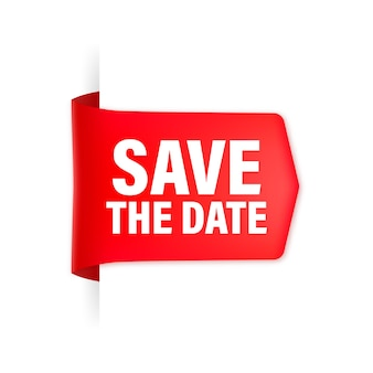 Save the date red ribbon