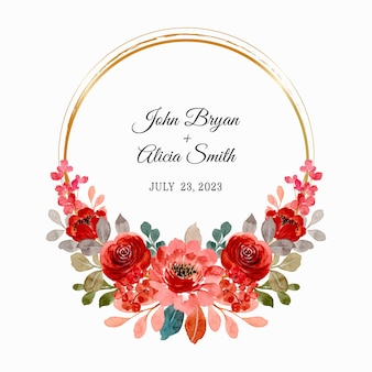 Save the date. red rose wreath with gold frame