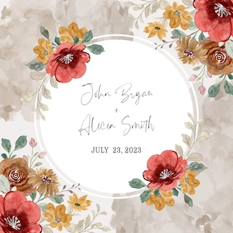 Save the date red and yellow floral frame with watercolor