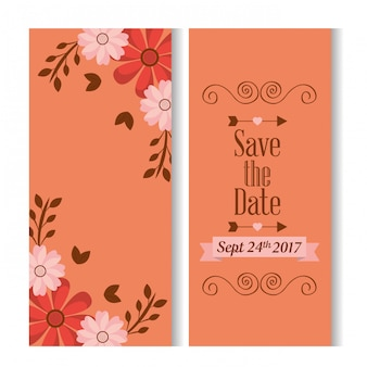 Save the date romantic banners with floral decoration