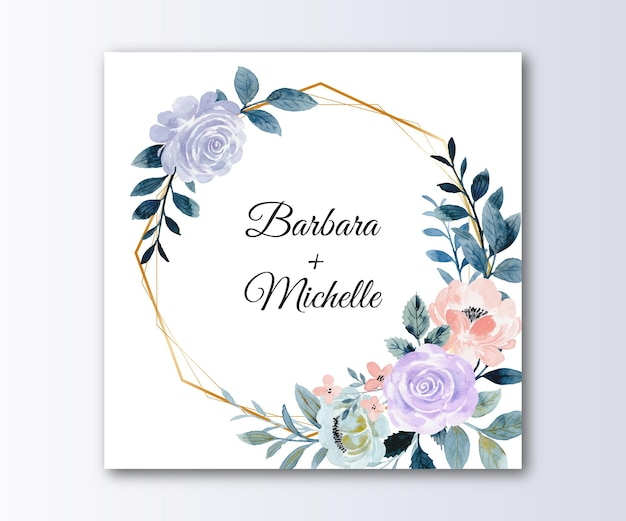 Save the date rose flower wreath with watercolor